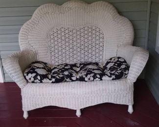 Vintage Victorian Fan Back Wicker Loveseat with Cushion
