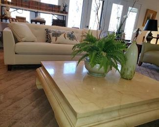 Walter E. Smith, matching sofas  great condition.  Contemporary, coffee table, marble finish