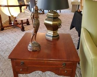 Vintage, Chapman Lamp,  1974 End tables,  resin art deco style fairy.