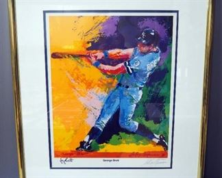 "Leroy Neiman (American, 1921-2012) George Brett Kansas City Royals Autographed Print, Signed By Player And Artist, Framed,  31.5"" W x 36.5"" H"