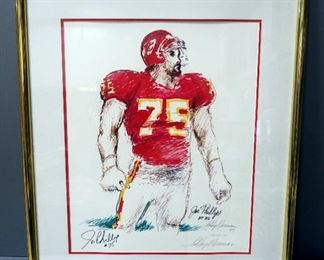 "Leroy Neiman (American, 1921-2012) Joe Phillips Kansas City Chiefs #75 Autographed Print, Signed By Player And Artist, Framed,  29.5"" W x 34.5"" H"