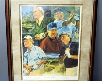 "Gary Head ""Golf Legends Watson, Nicklaus, Palmer, Player & Trevino"" Lithograph, Signed By Athletes And Artist, Numbered 53/150, With COA, See Descrip"