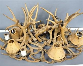 Antler Chandelier With 6 Candle Style Light Sockets, With Shades, Includes Chains, Hardwired, Unknown Working Condition