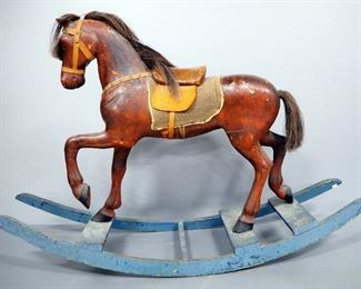 "Antique Rocking Horse With Leather Ears And Harness And Fabric Saddle Blanket, 34"" High x 52"" Long"