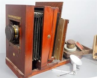 Antique Camera With Taylor Hopsin Cooke Portrait Anastigmit Lens, Replacement Lenses Of Various Sizes, Frames to Hold Photographic Glass And More