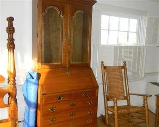 secretary desk ( Glass inside wrap )/ reed cane rocker