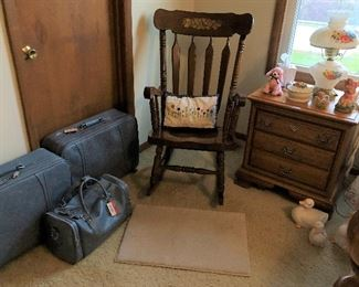 Luggage, Rocking Chair, Side Table (part of bedroom set)