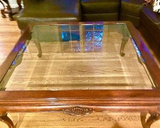 "Wood & Glass 4 ft. Square Coffee Table, 48"" x 48"" $200"