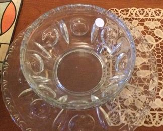 Large crystal bowl and matching plate