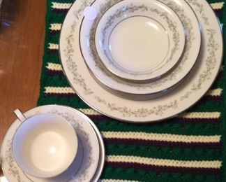 """Parkridge"" Noritaki China 7 piece  service for 12+ , sugar creamer serving bowls and platter"