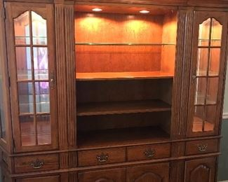 Thomasville Lighted Solid Oak Wall Unit