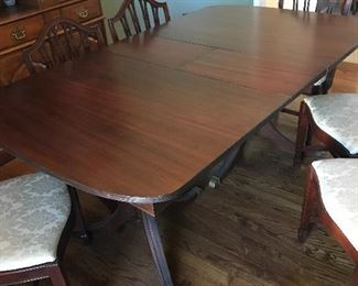 Double Pedestal Mahogany Dining Table w/6 Upholstered Chairs