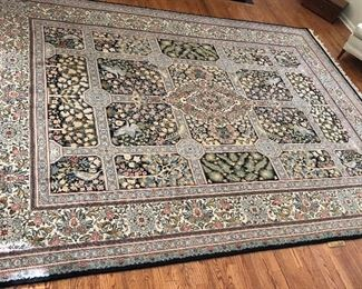 BUY IT NOW! $1100 Stunning, finely woven wool 9'x12' rug formal garden design with foliage & cranes, floral border. Dark navy blue trim.