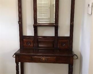 BUY IT NOW! $425 Antique Hall tree, beautiful condition with brass hooks & side rails for umbrella or cane, zinc drip trays, Georgian style pediment, center mirror