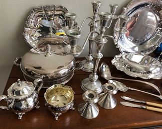 Sterling and silverplate tabletop items for the holidays. Keep your small gatherings elegant this year! contact us to buy