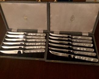 Kirk's Sheffield England steak knife sets (2) stainless with mop handles