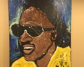 "Stevie Wonder Oil On Canvas Signed ""Marty"""