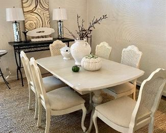Painted white table and chairs