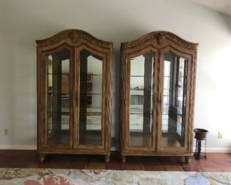 Two beautiful lighted display china cabinets