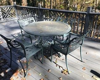 Outside metal table and chairs