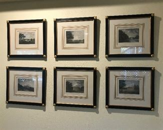 Set of beautifully framed antique engravings