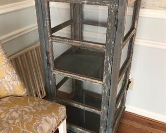 Distressed display cabinet glass shelves