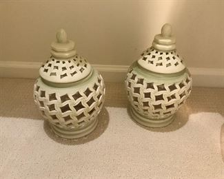 Pair of covered urns