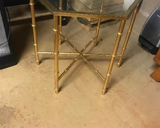 Brass glass metal table