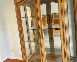 Distressed Wood glass mirrored back and glass shelves