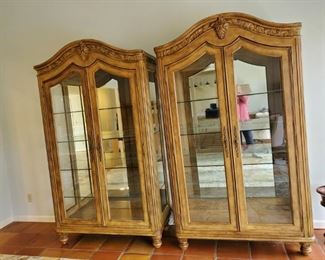 Lighted pair of display, china cabinet with glass shelves and mirrored back