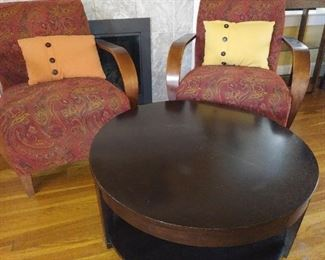 Matching chairs, round coffee table