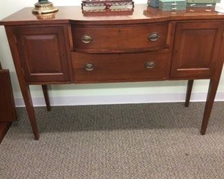 Hepplewhite style sideboard , mahogany lined bowed silverware drawer