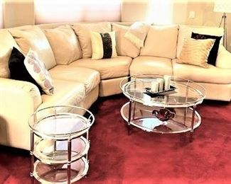 White Leather Curved Living Room Sofa