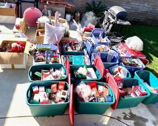 Bins filled with Hallmark collectibles, bulbs, lights, table decor, wrapping paper, gift bags & tags, etc.