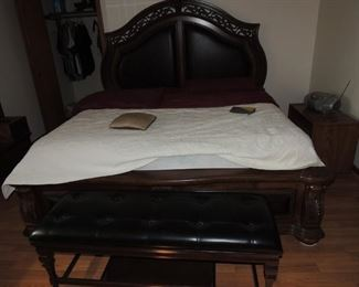 King size bed wood & leather head, foot board w/ rails