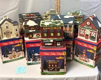 Lot 87 Ceramic Christmas Village Houses