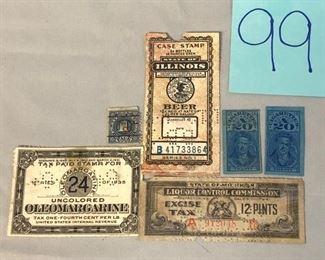 Lot 99 Vintage Tax Stamps