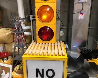 Actual traffic cube and stoplight.