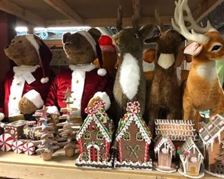 Christmas galore, including this assortment of gingerbread houses, large stuffed deer and more.
