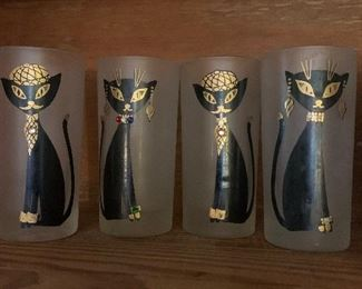 MAIDA ARMOUR SIAMESE HIPSTER CAT TALL COLLINS GLASSES Set of four (4)