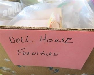 4 LARGE BOXES OF VINTAGE DOLL HOUSE FURNITURE, IDEAL, PRINCESS PATTIE, RENWAL,