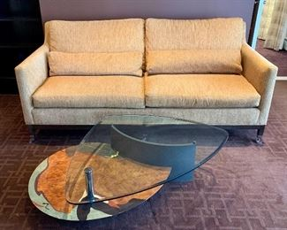 Item 19:  Contemporary two level, glass and abstract lacquer design lower tier table: $575    Sofa is sold!