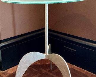 """Item 20:  Contemporary side table - metal base, glass top 19"""" x 22"""": $195"""