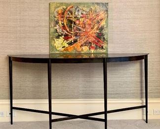 "Item 11:  Heavy black metal, demi-lune console table - 66.5""l x 16.5""w x 32""h: $375"