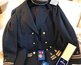 Dr. Hemphill's Naval uniform, service puns and medals. All inclusive.
