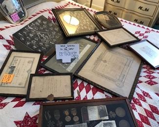 WW1 Collection of Dr. Rae Cather. Includes, papers, medals, French certificate of Merit, schooling, George V letter and portrait of Dr. Cather.  (Glass case not included)