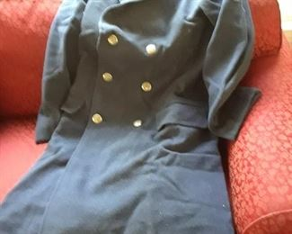 Navy full-length wool coat, vintage