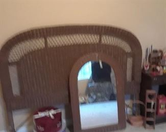 Wicker headboard and mirror