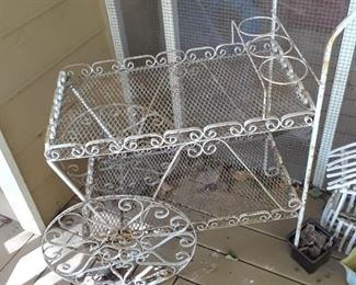 Wrought iron tea cart