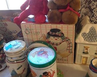 Christmas tins, jars, teddies, bells, and boxes